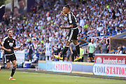 Brentford   celebrate Brentford  defender Nico Yennaris (8)  goal to make the score 1-1 during the EFL Sky Bet Championship match between Huddersfield Town and Brentford at the John Smiths Stadium, Huddersfield, England on 6 August 2016. Photo by Simon Davies.