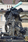 Statue above the main entrance gate of  Hradcany Castle, Prague, Czech Republic