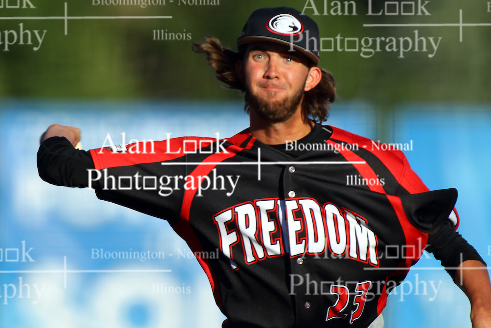 08 July 2016: Davis Adkins during a Frontier League Baseball game between the Florence Freedom and the Normal CornBelters at Corn Crib Stadium on the campus of Heartland Community College in Normal Illinois