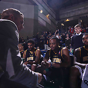 Delaware 87ers Head Coach Kevin Young (LEFT) draws up a play during a time out in the first half of a NBA D-league regular season basketball game between the Delaware 87ers and the Reno Bighorns (Sacramento Kings), Tuesday, Feb. 10, 2015 at The Bob Carpenter Sports Convocation Center in Newark, DEL.<br />