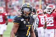 LITTLE ROCK, AR - NOVEMBER 29:  Tyler Badie #1 of the Missouri Tigers celebrates after scoring a touchdown during a game against the Arkansas Razorbacks at War Memorial Stadium on November 29, 2019 in Little Rock, Arkansas  The Tigers defeated the Razorbacks 24-14.  (Photo by Wesley Hitt/Getty Images) *** Local Caption *** Tyler Badie