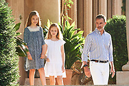 King Felipe VI of Spain, Crown Princess Leonor, Princess Sofia pose for the photographers at the Marivent Palace on July 31, 2017 in Palma de Mallorca, Spain.