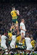 Twickenham, United Kingdom, Saturday, 24th  November 2018, RFU, Rugby, Stadium, England, Aussie, Lock, Izack Rodda, liftered well above  Brad SHIELDS, during the Quilter Autumn International, England vs Australia, © Peter Spurrier