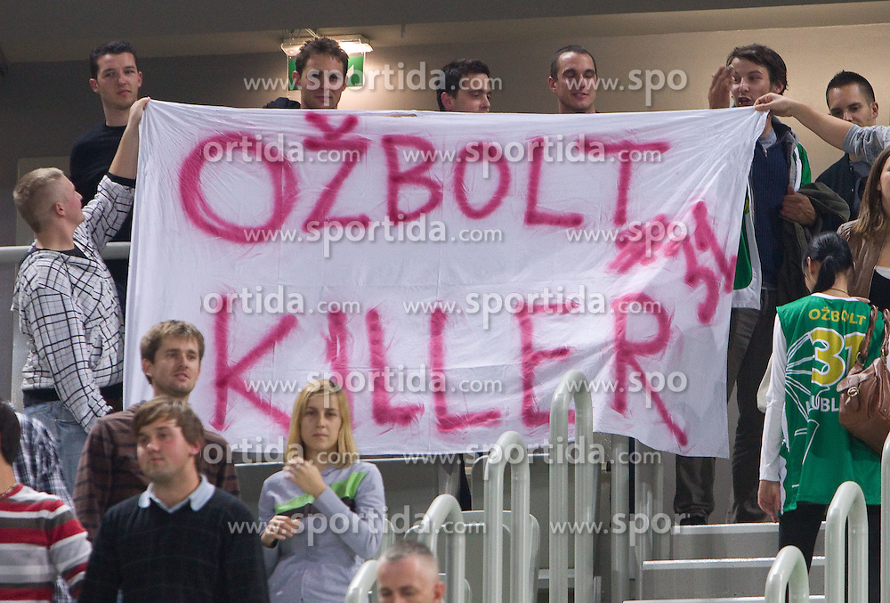 Fans of Saso Ozbolt (31) of Olimpija  during basketball match between KK Union Olimpija (SLO) and Panathinaikos (GRE) in Group D of Turkish Airlines Euroleague, on November 4, 2010 in Arena Stozice, Ljubljana, Slovenia. Union Olimpija defeated Panathinaikos 85-84. (Photo By Vid Ponikvar / Sportida.com)