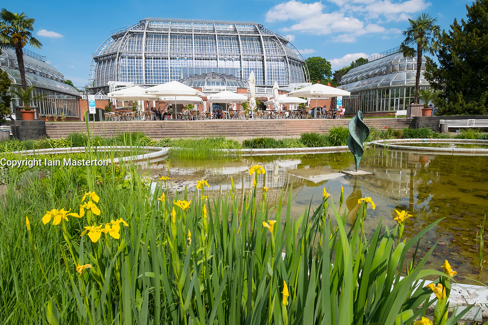 View of garden and glasshouse at Berlin Botanical Garden in Dahlem, Berlin, Germany