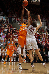 Dec 20, 2011; Stanford CA, USA;  Tennessee Lady Volunteers forward Glory Johnson (25) is fouled while shooting by Stanford Cardinal forward/center Sarah Boothe (42) during the first half at Maples Pavilion.  Mandatory Credit: Jason O. Watson-US PRESSWIRE