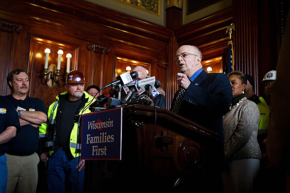 MADISON, WI — FEBRUARY 25: Wisconsin State Senator Robert Wirch speaks during a press conference in the Wisconsin State Capitol on Wednesday before a legislative session discussing a right-to-work bill.