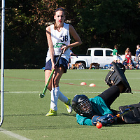 6 SEP 2010 -- FENTON, Mo. -- Marquette High School  field hockey player, Suzanne Sterns (38) fails to beat Nerinx Hall Academy Green goalkeeper to put Marquette ahead 2-1  during the Gateway Field Hockey Labor Day Tournament at the A-B Center in Fenton, Mo., Monday Sept. 6, 2010.  The match ended tied 2-2.