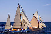 Tuiga and Eilean sailing in the Antigua Classic Yacht Regatta, Butterfly Race.