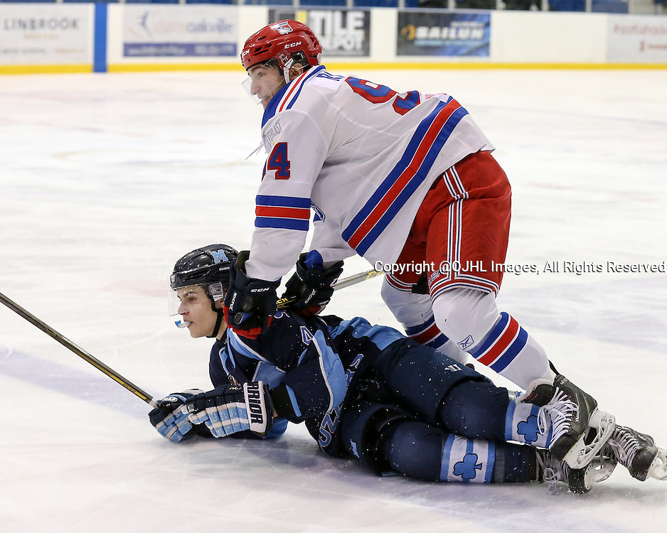 Oakville, ON - MAR 4, 2016  Ontario Junior Hockey League game action between St. Michael's and Oakville Blades at the Sixteen Mile Sports Complex Oakville, ON. Christian Rajic #94 of the Oakville Blades checks Luke Branco #4 of the St.Michael's Buzzers during the third period. <br /> (Photo by Kevin Sousa / OJHL Images)