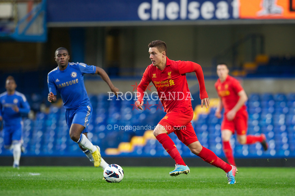 LONDON, ENGLAND - Friday, April 19, 2013: Liverpool's Kristoffer Peterson in action against Chelsea during the FA Youth Cup Semi-Final 2nd Leg match at Stamford Bridge. (Pic by David Rawcliffe/Propaganda)