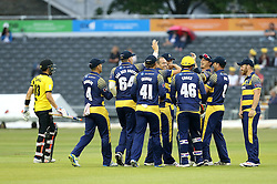 Glamorgan celebrate the wicket of Benny Howell of Gloucestershire taken by Dean Cosker of Glamorgan  - Mandatory by-line: Robbie Stephenson/JMP - 10/06/2016 - CRICKET - Brightside Ground - Bristol, United Kingdom - Gloucestershire v Glamorgan - NatWest T20 Blast