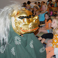 Los Angeles Taiko Center performs the Lion Dance at the Santa Monica Library on Monday, July 18, 2011..