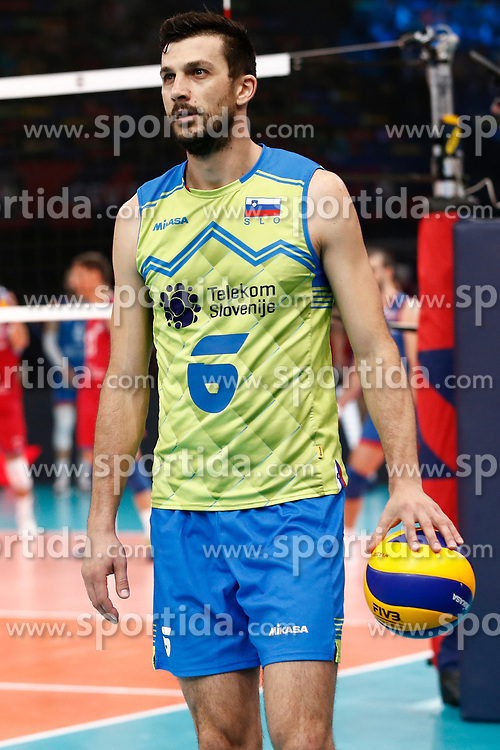 PARIS, FRANCE - SEPTEMBER 29: Mitja Gasparini #6 of Slovenia reacts to a play during the EuroVolley 2019 Final match between Serbia and Slovenia at AccorHotels Arena on September 29, 2019 in Paris, France. Photo by Catherine Steenkeste / Sipa / Sportida