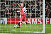 Tottenham Hostpur midfielder Christian Eriksen (23) scoring 1-0 during the Europa League match between Tottenham Hotspur and KAA Gent at Wembley Stadium, London, England on 23 February 2017. Photo by Matthew Redman.