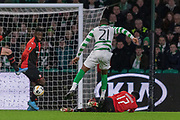 Olivier Ntcham (#21) of Celtic with a strike on goal during the Europa League match between Celtic and Rennes at Celtic Park, Glasgow, Scotland on 28 November 2019.