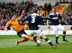 Wolves' Stephen Ward scores the first goal- Photo mandatory by-line: Matt Bunn/JMP  - Tel: Mobile:07966 386802 13/04/2013 - Wolverhampton Wanderers v Huddersfield Town - SPORT - FOOTBALL - Championship -  Wolverhampton - Molinuex-