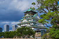 Japon, île de Honshu, Kansai, Osaka, le château Osaka-jo // Japan, Honshu island, Kansai region, Osaka, Osaka-jo castle