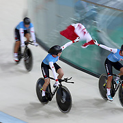 Track Cycling - Olympics: Day 8  Allison Beveridge #39, Jasmin Glaesser #40, Kirsti Lay #169 and Georgia Simmerling #171 of Canada winning the Women's Team Pursuit Bronze Medal Final during the track cycling competition at the Rio Olympic Velodrome August 12, 2016 in Rio de Janeiro, Brazil. (Photo by Tim Clayton/Corbis via Getty Images)
