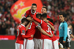 February 17, 2018 - Lisbon, Lisbon, Portugal - Benficas defender Ruben Dias from Portugal celebrating with is team mate after scoring a goal during the Premier League 2017/18 match between SL Benfica v Boavista FC, at Luz Stadium in Lisbon on February 17, 2018. (Credit Image: © Dpi/NurPhoto via ZUMA Press)