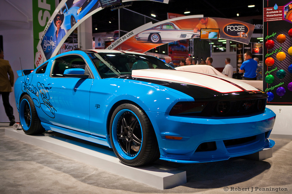 SEMA 2011 in Las Vegas Nevada, an automobile after market show. Richard Petty signature series 2012 Ford Mustang GT finished in R-M BASF Onyx Waterborne Petty blue paint.