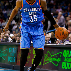 December 10, 2010; New Orleans, LA, USA; Oklahoma City Thunder forward Kevin Durant (35) during the first half against the New Orleans Hornets at the New Orleans Arena.  Mandatory Credit: Derick E. Hingle-US PRESSWIRE