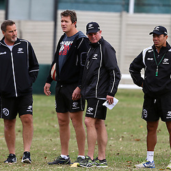 DURBAN, SOUTH AFRICA, 1 August, 2016 - Robert du Preez (Head Coach) of the Cell C Sharks with Ryan Strudwick (Assistant Coach) of the Cell C Sharks Sean Everitt (Assistant Coach) of the Cell C Sharks and Ricardo Loubscher (Assistant Coach) of the Cell C Sharks during The Cell C Sharks Currie Cup training session at Growthpoint Kings Park in Durban, South Africa. (Photo by Steve Haag)<br /> <br /> images for social media must have consent from Steve Haag