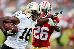 SANTA CLARA, CA - NOVEMBER 06: Wide receiver Brandon Coleman #16 of the New Orleans Saints rushes past cornerback Tramaine Brock #26 of the San Francisco 49ers during the fourth quarter at Levi's Stadium on November 6, 2016 in Santa Clara, California. The New Orleans Saints defeated the San Francisco 49ers 41-23. (Photo by Jason O. Watson/Getty Images) *** Local Caption *** Brandon Coleman; Tramaine Brock