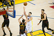 Golden State Warriors guard Klay Thompson (11) takes the ball to the basket against the Cleveland Cavaliers during Game 1 of the NBA Finals at Oracle Arena in Oakland, Calif., on May 31, 2018. (Stan Olszewski/Special to S.F. Examiner)