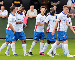 Nabil Shariff celebrates with team mates after scoring for AFC Rushden & Diamonds, to extend their lead to make it 2 - 0 against Hanwell Town,  AFC Rushden & Diamonds v Hanwell Town at Hayden Road ground on Saturday 12 August 2017..
