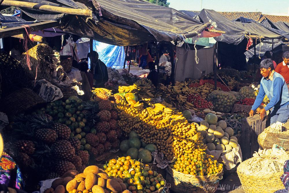 Central America, Latin America, Guatemala, Chichicastenango. Fresh fruits at the street market.