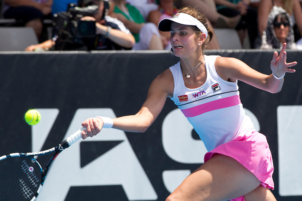 Germany's Julia Goerges plays Sweden's Johanna Larsson in round 2 of the singles at the ASB Classic Women's Tennis Tournament, ASB Tennis Arena, Auckland, New Zealand, Wednesday, January 02, 2013.  Credit:SNPA / David Rowland