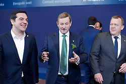 Greece Prime Minister Alexis Tsipras, Irish Prime Minister Enda Kenny and Danish Prime Minister Lars Loekke Rasmussen (from L to R) talk at family photo session during a two-day European Union leaders summit at the EU Council headquarters in Brussels, Belgium, March 17, 2016. EXPA Pictures © 2016, PhotoCredit: EXPA/ Photoshot/ Ye Pingfan<br /> <br /> *****ATTENTION - for AUT, SLO, CRO, SRB, BIH, MAZ, SUI only*****