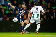 17-10-2015 VOETBAL:FC GRONINGEN-WILLEM II:GRONINGEN<br /> <br /> Erik Falkenburg van Willem II in duel met Etienne Reijnen<br /> <br /> Foto: Geert van Erven
