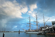 **WITH STORY BY KELLY**.KEVIN BARTRAM/The Daily News.The tall ship Elissa sits at the Texas Seaport Museum at Pier 21 early Tuesday morning, Oct. 4, 2005. The ship was not damaged during Hurricane Rita.