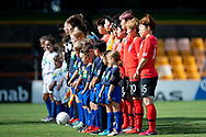 SYDNEY, NSW - FEBRUARY 28: Both teams stand for national anthems at The Cup of Nations womens soccer match between Argentina and Korea Republic on February 28, 2019 at Leichhardt Oval, NSW. (Photo by Speed Media/Icon Sportswire)