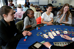 UK ENGLAND LANCASHIRE BLACKPOOL 1DEC04 - Blackpool College Croupier students take a lesson at a Black Jack table. Stuents (L-R) Cayetana Ruiz (23), Gloria Chiti (23), Rattanachanok Raopasent (26) and Tracy Buckfield (24) have taken this course as part of their Travel and Tourism degree.....jre/Photo by Jiri Rezac....© Jiri Rezac 2004....Contact: +44 (0) 7050 110 417..Mobile:  +44 (0) 7801 337 683..Office:  +44 (0) 20 8968 9635....Email:   jiri@jirirezac.com..Web:    www.jirirezac.com....© All images Jiri Rezac 2004 - All rights reserved.