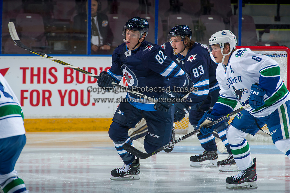 PENTICTON, CANADA - SEPTEMBER 8: Mason Appleton #82 of Winnipeg Jets skates against the Vancouver Canucks on September 8, 2017 at the South Okanagan Event Centre in Penticton, British Columbia, Canada.  (Photo by Marissa Baecker/Shoot the Breeze)  *** Local Caption ***