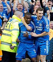 Photo: Ed Godden/Sportsbeat Images.<br /> Chelsea v Tottenham Hotspur. The FA Cup. 11/03/2007.<br /> Chelsea's Salomon Kalou celebrates scoring to make it 3-3, with team mate Andriy Shevchenko.