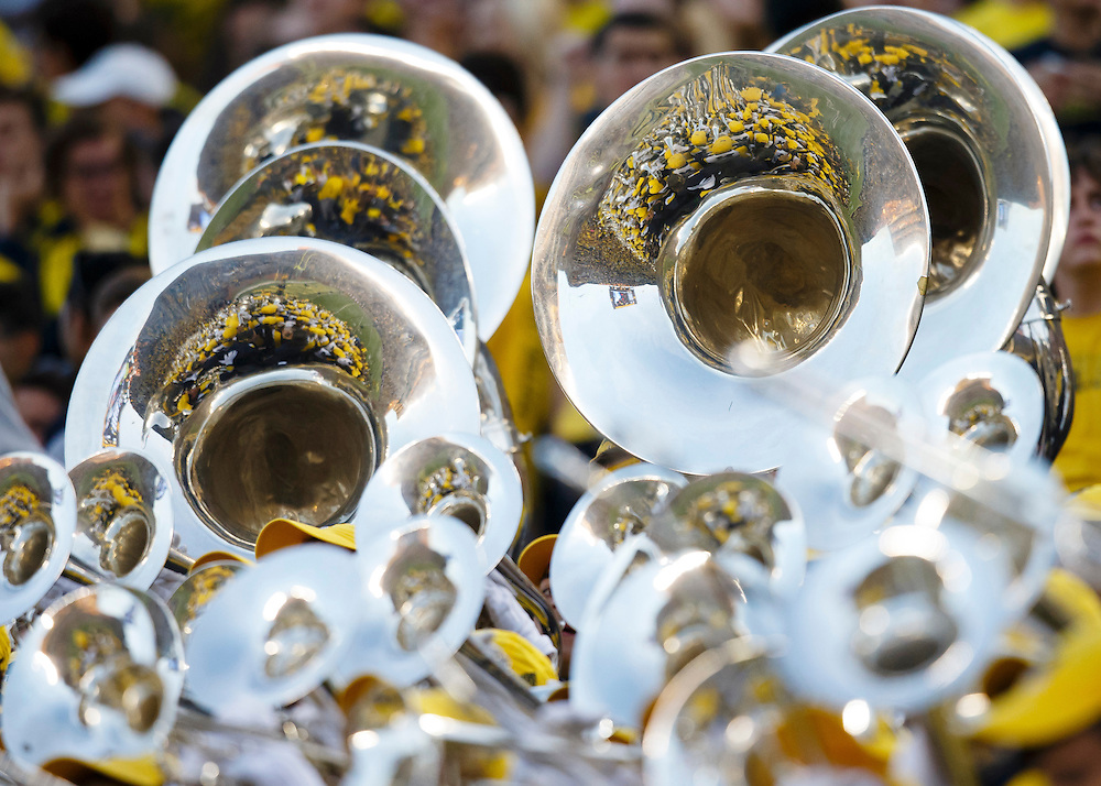 Oct 10, 2015; Ann Arbor, MI, USA; Michigan Wolverines marching band during the game against the Northwestern Wildcats at Michigan Stadium. Mandatory Credit: Rick Osentoski-USA TODAY Sports