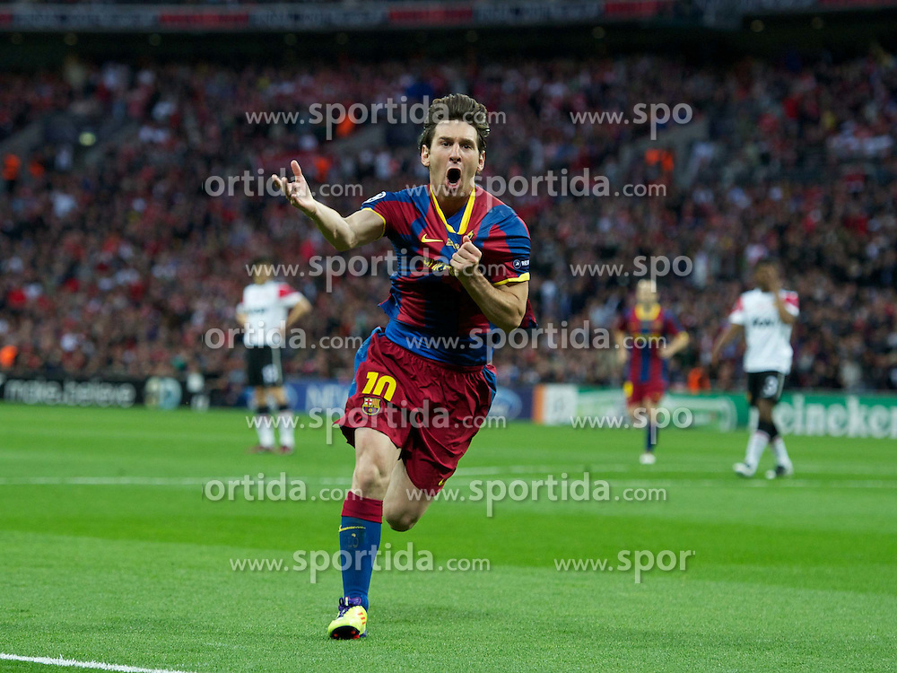 28.05.2011, Wembley Stadium, London, ENG, UEFA CHAMPIONSLEAGUE FINALE 2011, FC Barcelona (ESP) vs Manchester United (ENG), im Bild FC Barcelona's Lionel Messi celebrates scoring the second goal against Manchester United during the UEFA Champions League Final at Wembley Stadium, EXPA Pictures © 2011, PhotoCredit: EXPA/ Propaganda/ Chris Brunskill *** ATTENTION *** UK OUT!