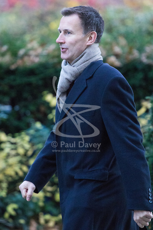 Downing Street, London, November 29th 2016. Health Secretary Jeremy Hunt arrives at 10 Downing Street for the weekly meeting of the UK cabinet.