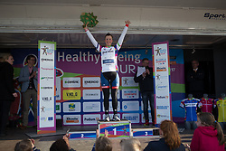 Lisa Klein (GER) of Cervélo-Bigla Cycling Team retains the white jersey as the leader of the Young Rider Classification after Stage 1b of the Healthy Ageing Tour - a 77.6 km road race, starting and finishing in Grijpskerk on April 5, 2017, in Groeningen, Netherlands.