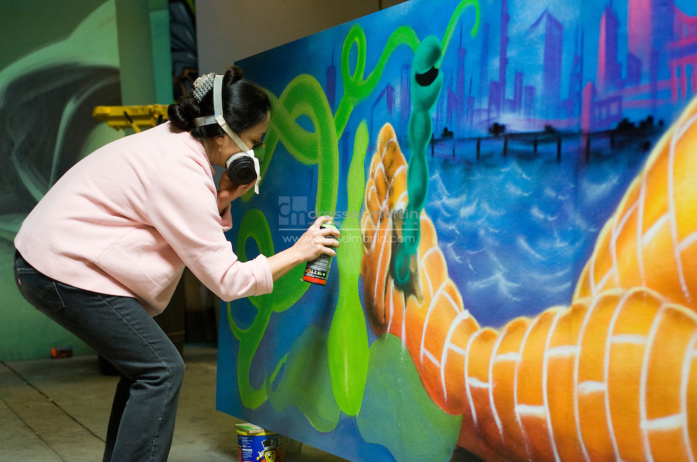 Denver Botanic Gardens Urban Nature Exhibit, Lady Pink creating her pieces
