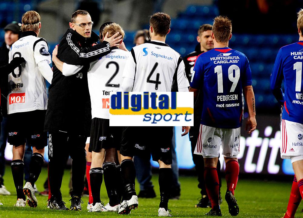 Fotball<br /> Tippeligaen<br /> Ullev&aring;l Stadio 20.04.12<br /> V&aring;lerenga VIF - Sogndal<br /> Trener Jonas Olsson feirer seier<br /> Foto: Eirik F&oslash;rde