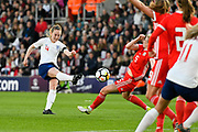 Keira Walsh (4) of England shoots at goal from outside the box during the FIFA Women's World Cup UEFA Qualifier match between England Ladies and Wales Women at the St Mary's Stadium, Southampton, England on 6 April 2018. Picture by Graham Hunt.