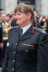 © Licensed to London News Pictures. 23/12/2019. London, UK. Firefighters hold a Guard of Honour for London Fire Brigade Commissioner Dany Cotton outside the brigades headquarters in Union Street, London. Firefighters from across the UK and several from overseas attended the unofficial event. Commissioner Cotton is retiring in the wake of the Grenfell Fire. Photo credit: Peter Manning/LNP