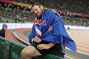 Thomas Walsh, New Zealand, climbs over boards, after shot put final during the IAAF World Championships at the London Stadium, London, England on 6 August 2017. Photo by Myriam Cawston.
