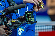 Matteo Berrettini of Italy leaves a message on the TV camera lens during the Nitto ATP Finals at the O2 Arena, London, United Kingdom on 14 November 2019.