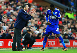 Leicester City manager Claude Puel gives instructions to Daniel Amartey - Mandatory by-line: Matt McNulty/JMP - 30/12/2017 - FOOTBALL - Anfield - Liverpool, England - Liverpool v Leicester City - Premier League